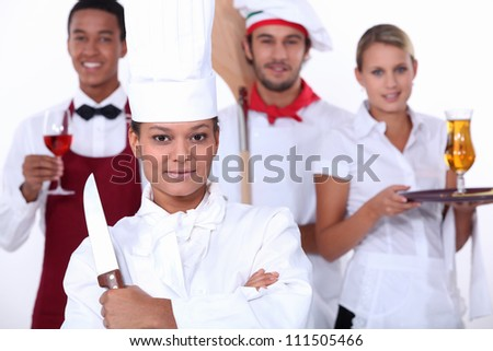 restaurant staff - stock photo