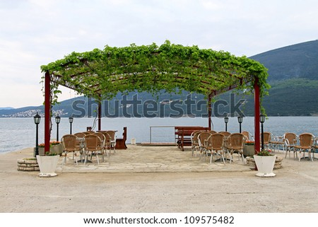 Restaurant terrace with vine canopy at Adriatic sea & Restaurant Terrace Vine Canopy Adriatic Sea Stock Photo 109575482 ...