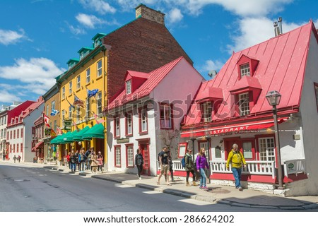 Restaurants Shops Old Architectural Styled Buildings Stock Photo