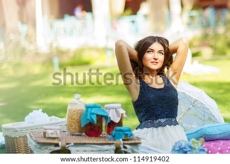 Resting at nature.  Woman resting in summerhouse