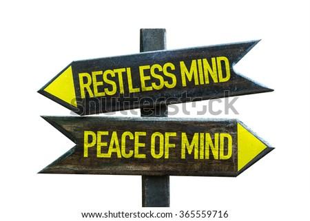 Restless Mind - Peace of Mind signpost isolated on white background - stock photo