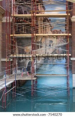 Restoration at Venetian Hotel in Las Vegas - stock photo
