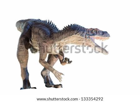 Restoration of a Herrerasaurus (Herrerasaurus ischigualastensis) dinosaur isolated - stock photo