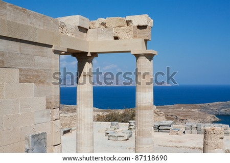 Restored and original pieces of the ancient temple of Athena Lindia on the Acropolis of Lindos in the Dodecanese island of Rhodes, Greece.