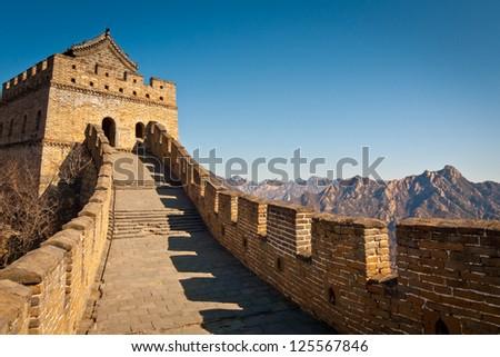 Restored Great Wall Tower at Mutianyu, near Beijing, China - stock photo