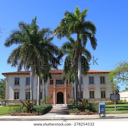 Restored, historic Lake Park, Florida Town Hall is a an example of stucco brick and late Italian Renaissance architecture in a small town. - stock photo