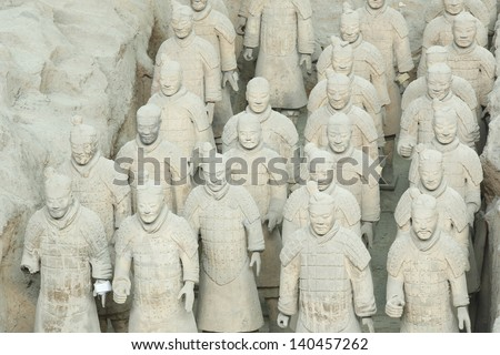 Restored Terracotta Warriors in a museum in Xian, China - stock photo