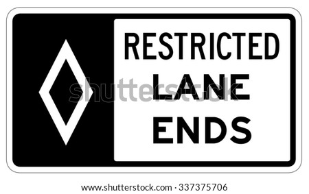 Restricted lane ends Sign isolated on a white background - stock photo