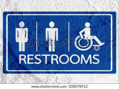 Restroom icon and Pictogram Man Woman Sign on Cement wall texture background design