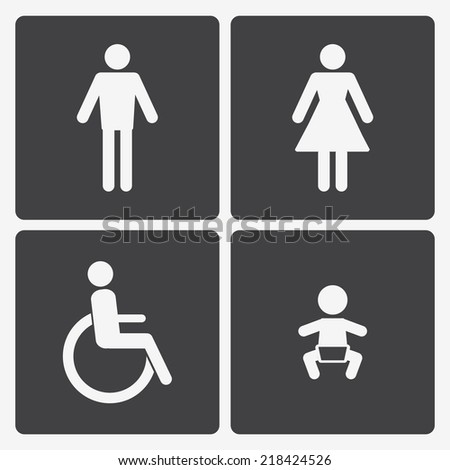 Restroom icons: lady, man, child and disability. WC icon - stock photo