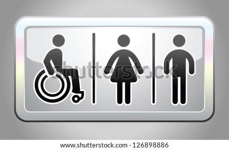 Restroom symbol, button, gray, design element - stock photo