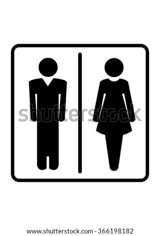 Restroom symbols. Man and woman signs for toilet, restroom, washroom, lavatory isolated on white background - stock photo