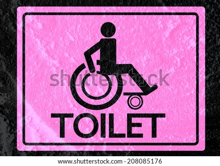 Restrooms For Wheelchair Handicap Icon Design And Pictogram Icons Sign On Cement Wall Texture Background