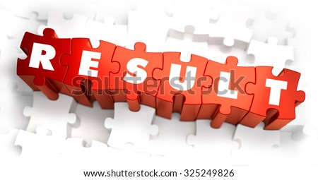 Result - White Word on Red Puzzles on White Background. 3D Render.  - stock photo