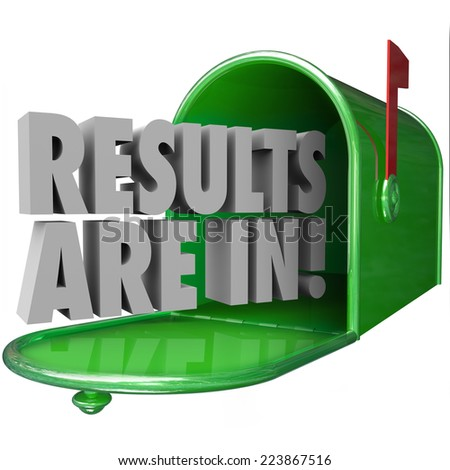 Results Are In 3d words in a green metal mailbox to inform you that test or research findings are available and delivered - stock photo