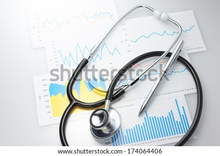 Results of a medical and stethoscope. Checking daily health conditions.  - stock photo