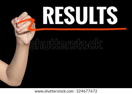Results word write on black background by woman hand holding highlighter pen - stock photo