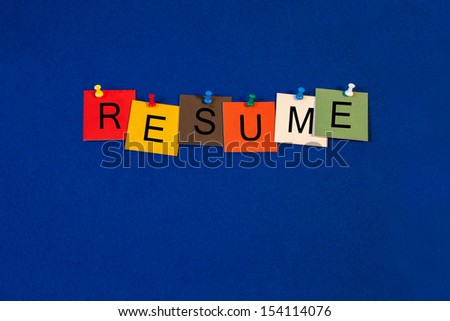 Resume, CV - Business sign terms series - stock photo