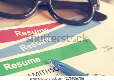Resume letter background and glasses, pen, can use as recruitment business concept - stock photo