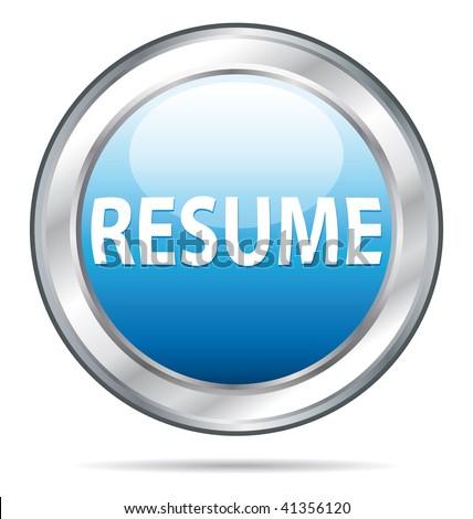 Resume website icon button. - stock photo