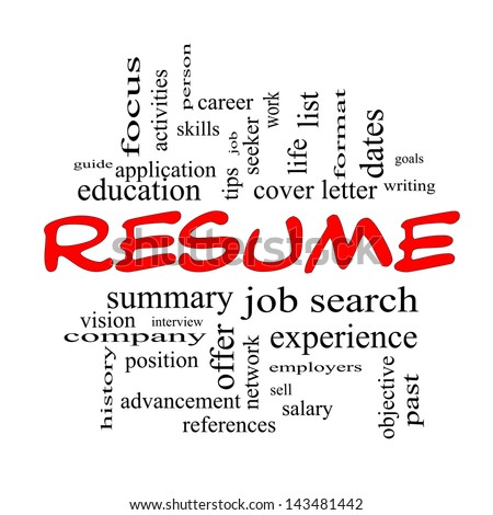 Resume Word Cloud Concept in Red caps with great terms such as career, job search, interview and more.