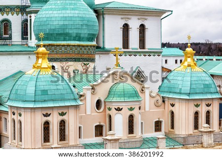 Resurrection Cathedral in New Jerusalem Monastery in Istra, near Moscow, Russia - stock photo