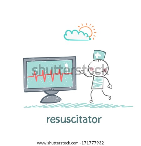 resuscitation is a monitor shows the heartbeat - stock photo