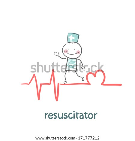 resuscitation is on the line showing the beating of the heart - stock photo