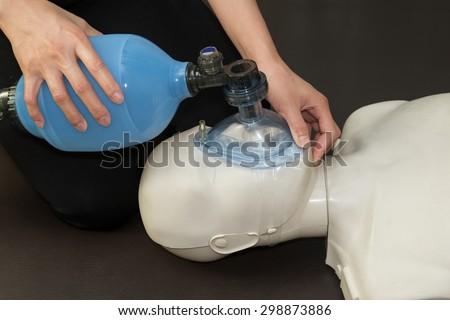 resuscitation technique using dummy Resuscitation training - stock photo