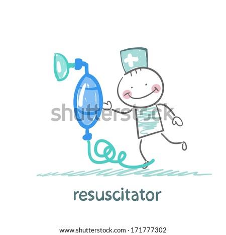 resuscitation with oxygen mask - stock photo