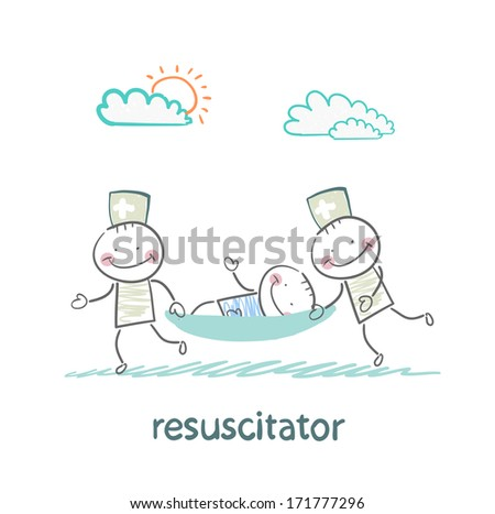 resuscitator carry on a stretcher patient - stock photo