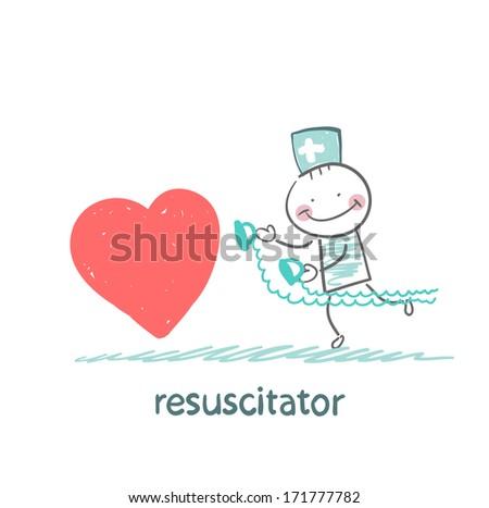 resuscitator hurry to the heart is sick - stock photo