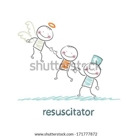 resuscitator keeps patients picking up Angel - stock photo