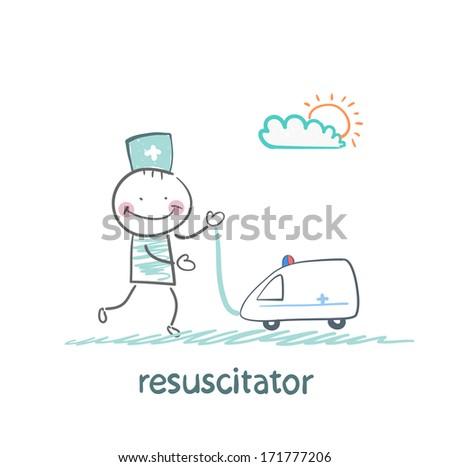 resuscitator played with toy ambulance - stock photo