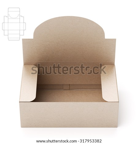 Retail Shelf Box with Header and Die Cut Layout - stock photo