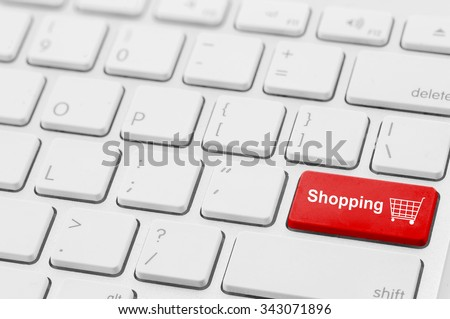 retail shopping cart icon button on a keyboard - stock photo
