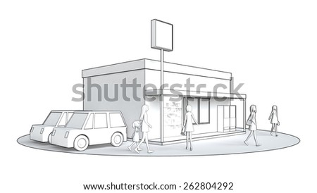 retail store where people gather - stock photo