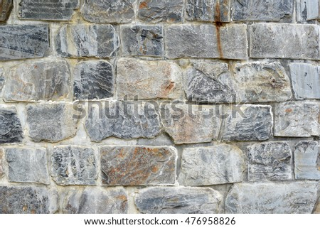 Retaining Wall Built With Granite Rock