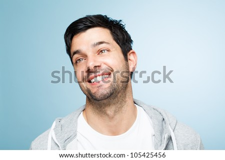 Retarded man making funny faces is silly