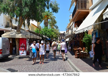 RETHYMNO, GREECE - 08.04.2016: city street with people editorial