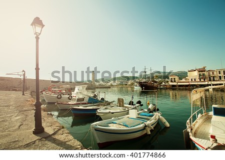 Rethymnon City, Crete, Greece. Boats, Sea and Lighthouse. Impression of Greece - stock photo