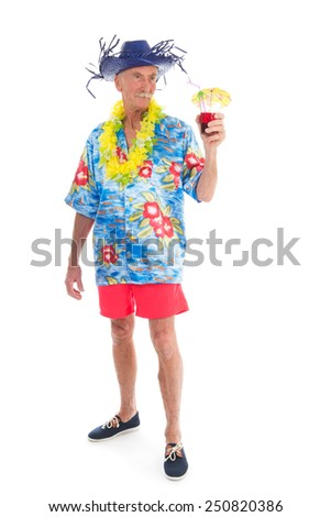 Retired man on vacation with cocktail drink isolated over white background - stock photo