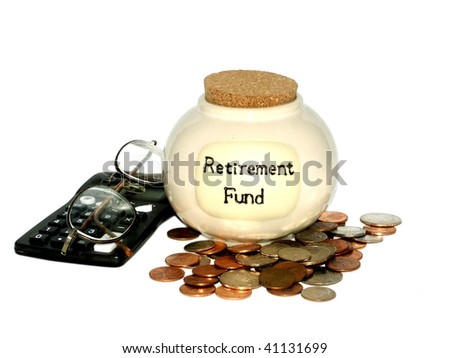 Retirement concept with a jar, checkbook, coins and glasses - stock photo