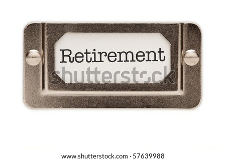 Retirement File Drawer Label Isolated on a White Background. - stock photo