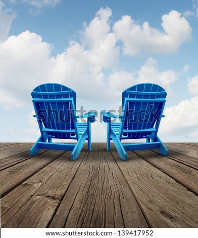 Retirement relaxation and financial planning symbol with two empty blue adirondack chairs on a wood patio deck with a sky view as a business freedom concept of future successful investment strategy.