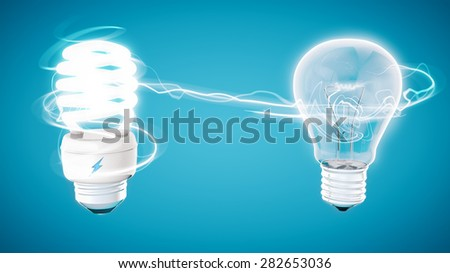 Retouch energy saver bulb on modern blue  background and stylized electric symbol on model.  - stock photo