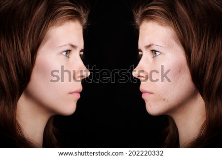 retouched portrait with skin texture - stock photo