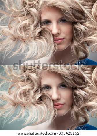 retouching portrait curly blonde wind hair - stock photo