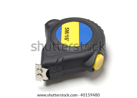 Retractable measuring tape isolated on a white background