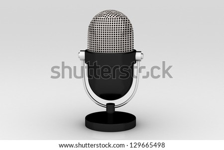 Retro a microphone. 3d image. Isolated white background.